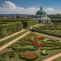 Swirling beds in Kromeriz Flower Garden