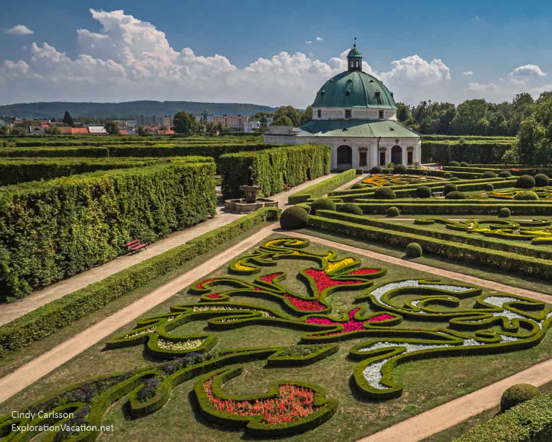 Swirling beds in Kromeriz Flower Garden