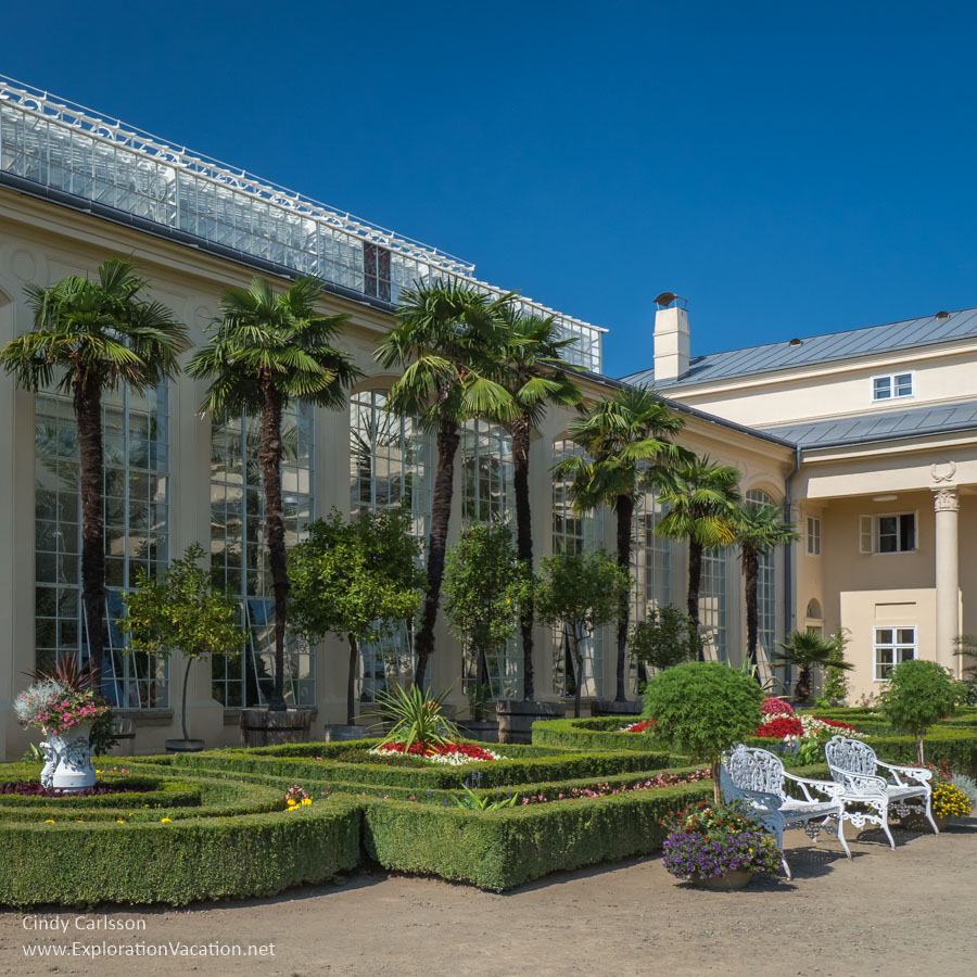 Historic greenhouse with palm trees at Kromeriz Flower Garden