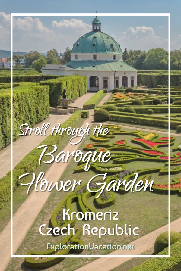 Photo of the flower garden and Rotunda with title text