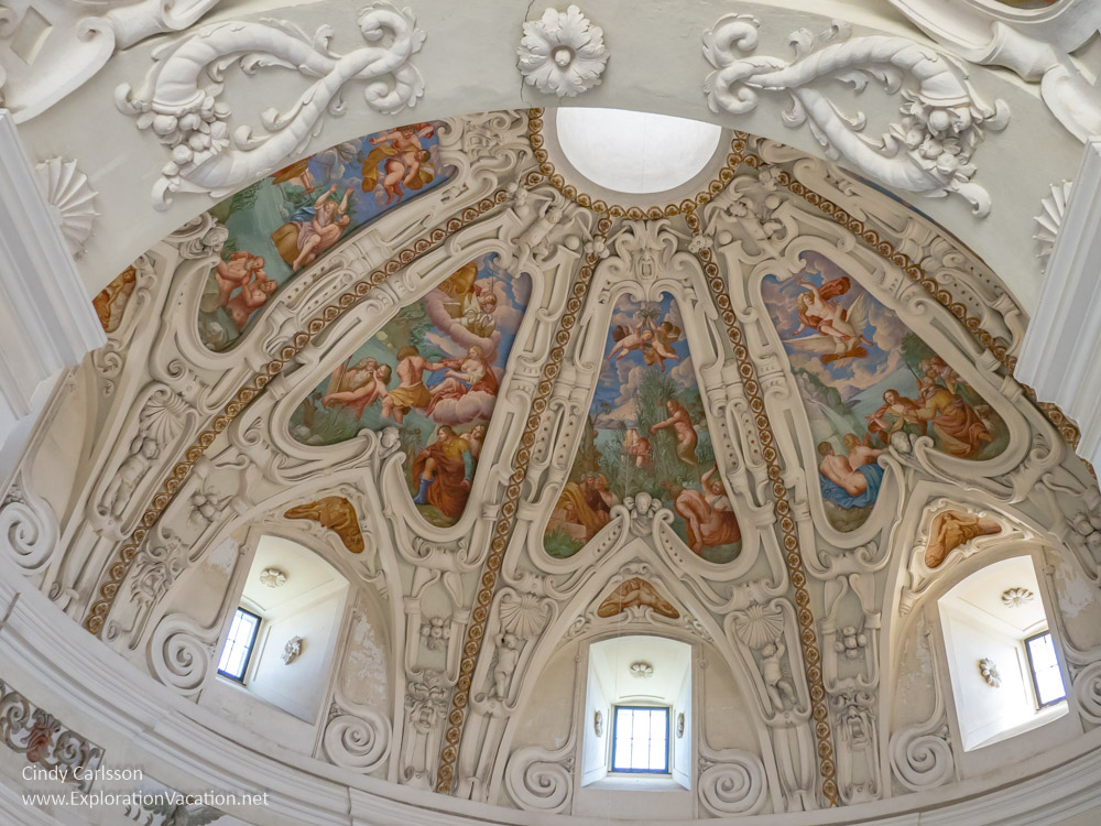 Elaborately sculpted and painted ceilings in the Kromeriz Pleasure Garden Rotunda