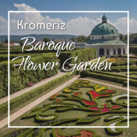 "flower garden and Rotunda with text ""Stroll through the Baroque Flower Garden in Komeriz Czechia"""