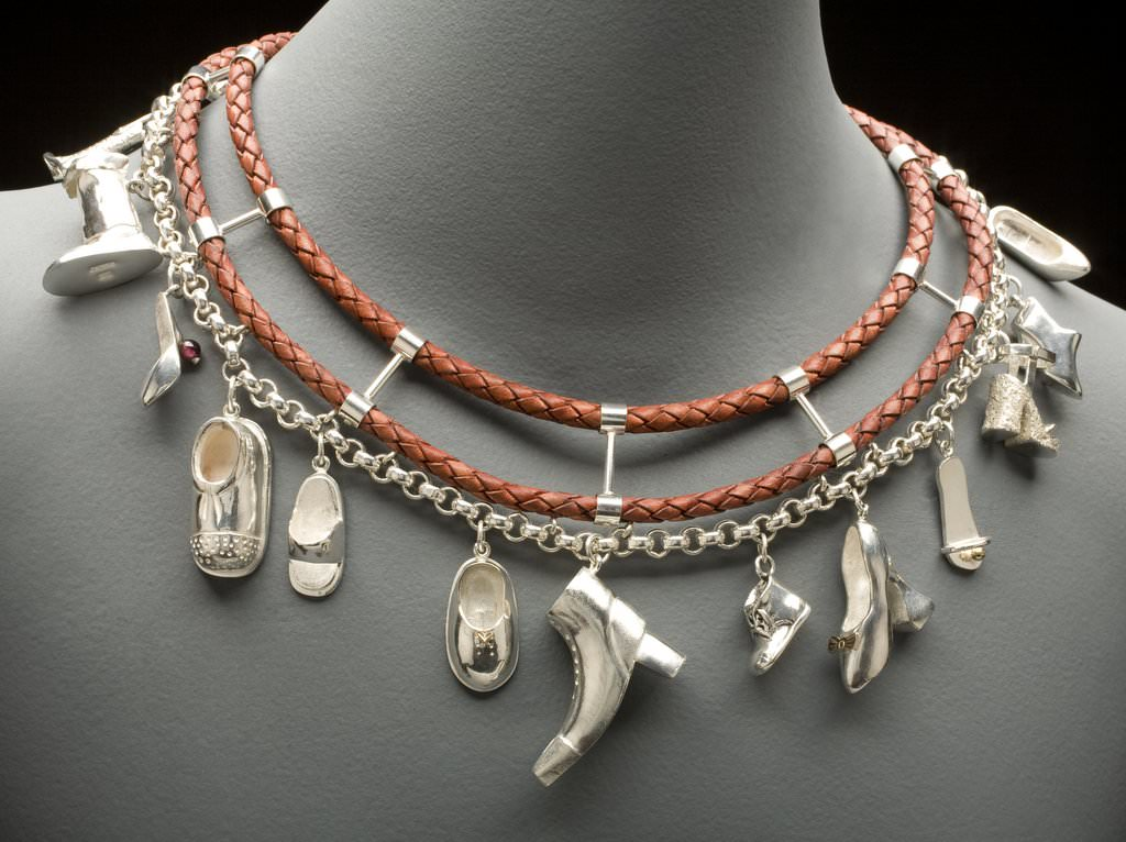 necklace with silver shoes