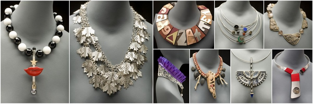 collage of necklaces made from a wide variety of materials