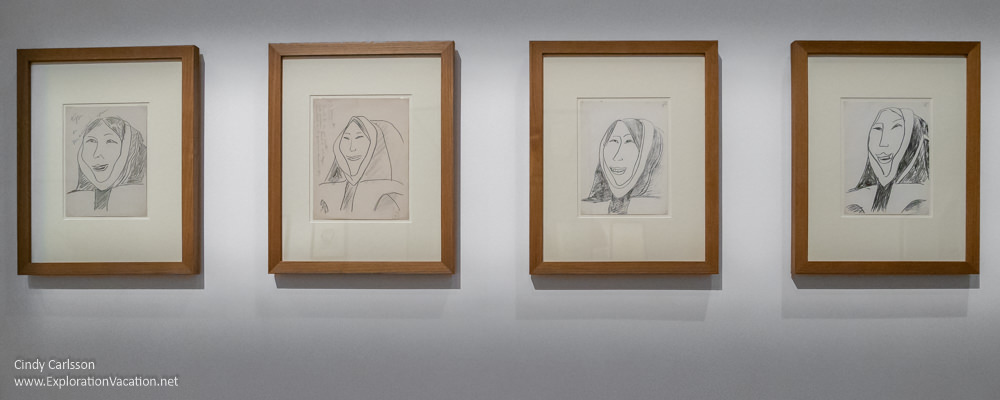four framed lithographs portraying native Arctic women