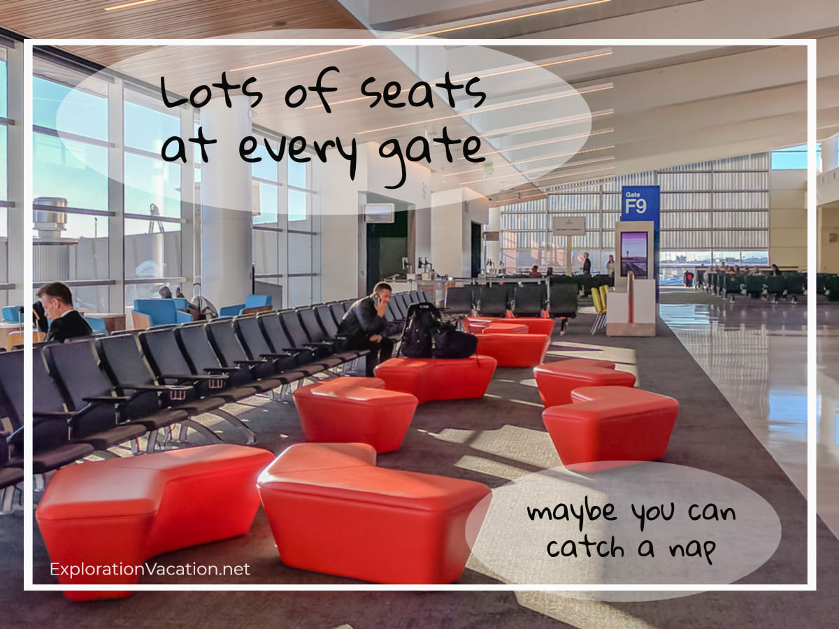A mix of seating in the gate area
