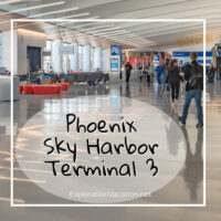 "Airport terminal with text ""New and Improved: Phoenix Sky Harbor Terminal 3"""