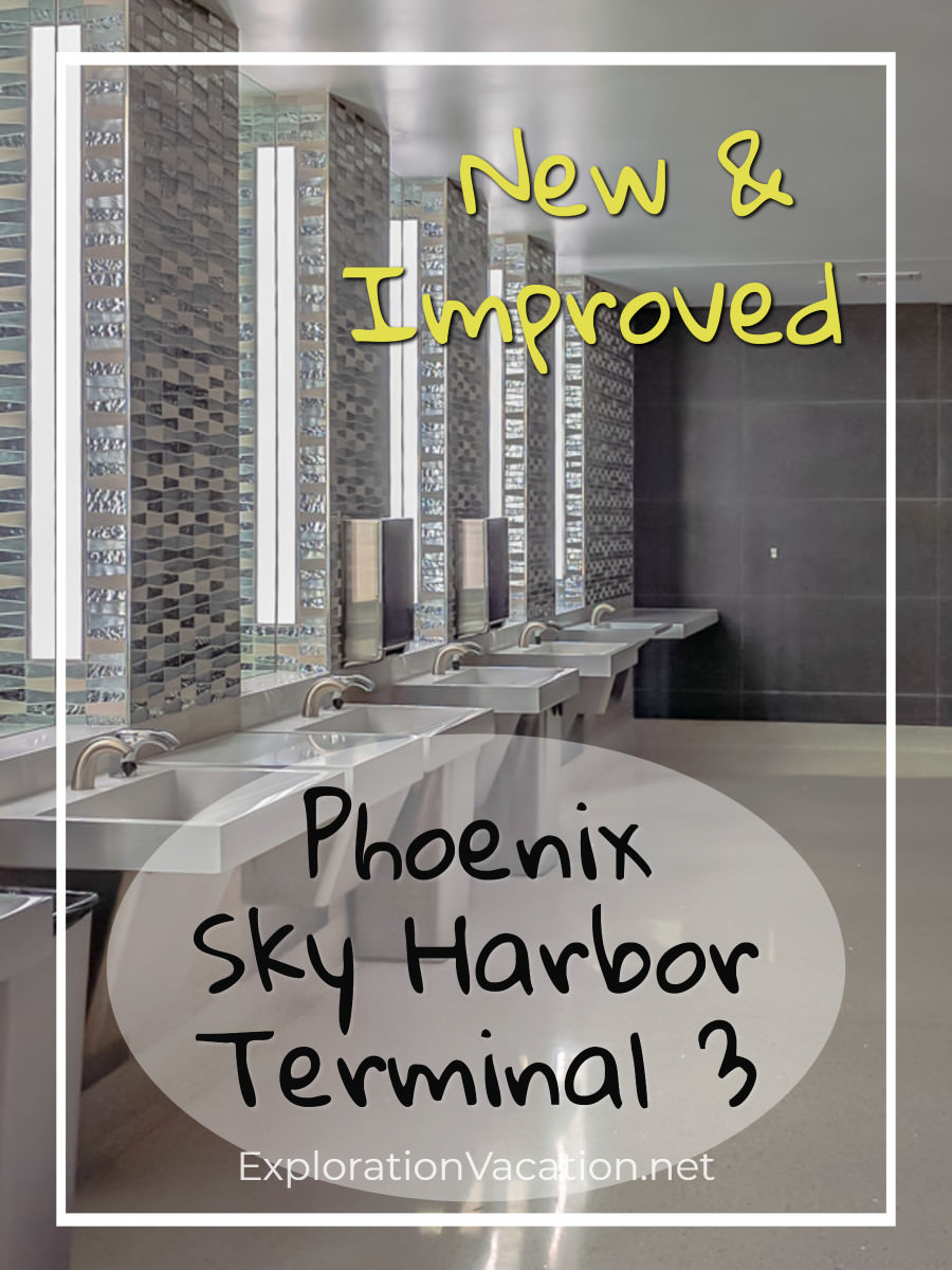 """restroom with text """"New and Improved: Phoenix Sky Harbor Terminal 3"""""""