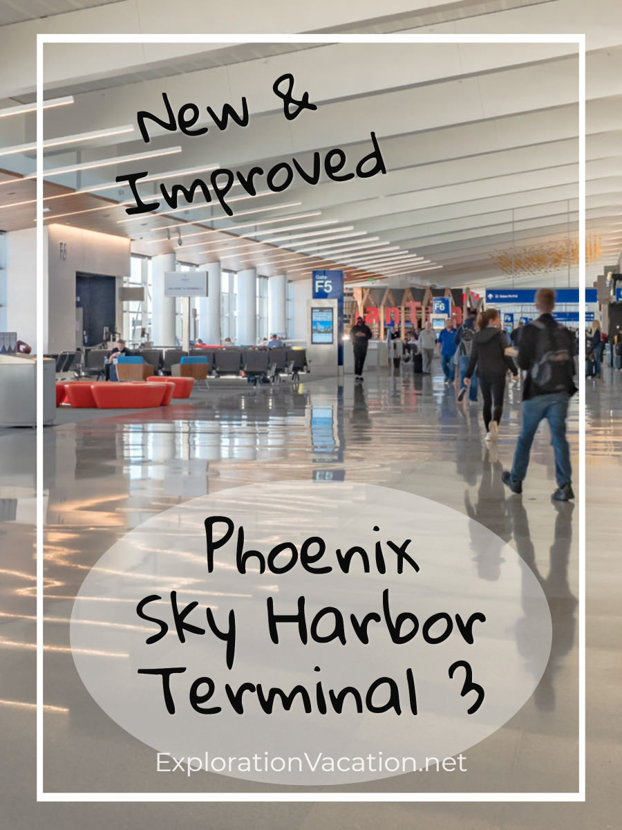 "Open spaces in terminal with text ""New and Improved: Phoenix Sky Harbor Terminal 3"""