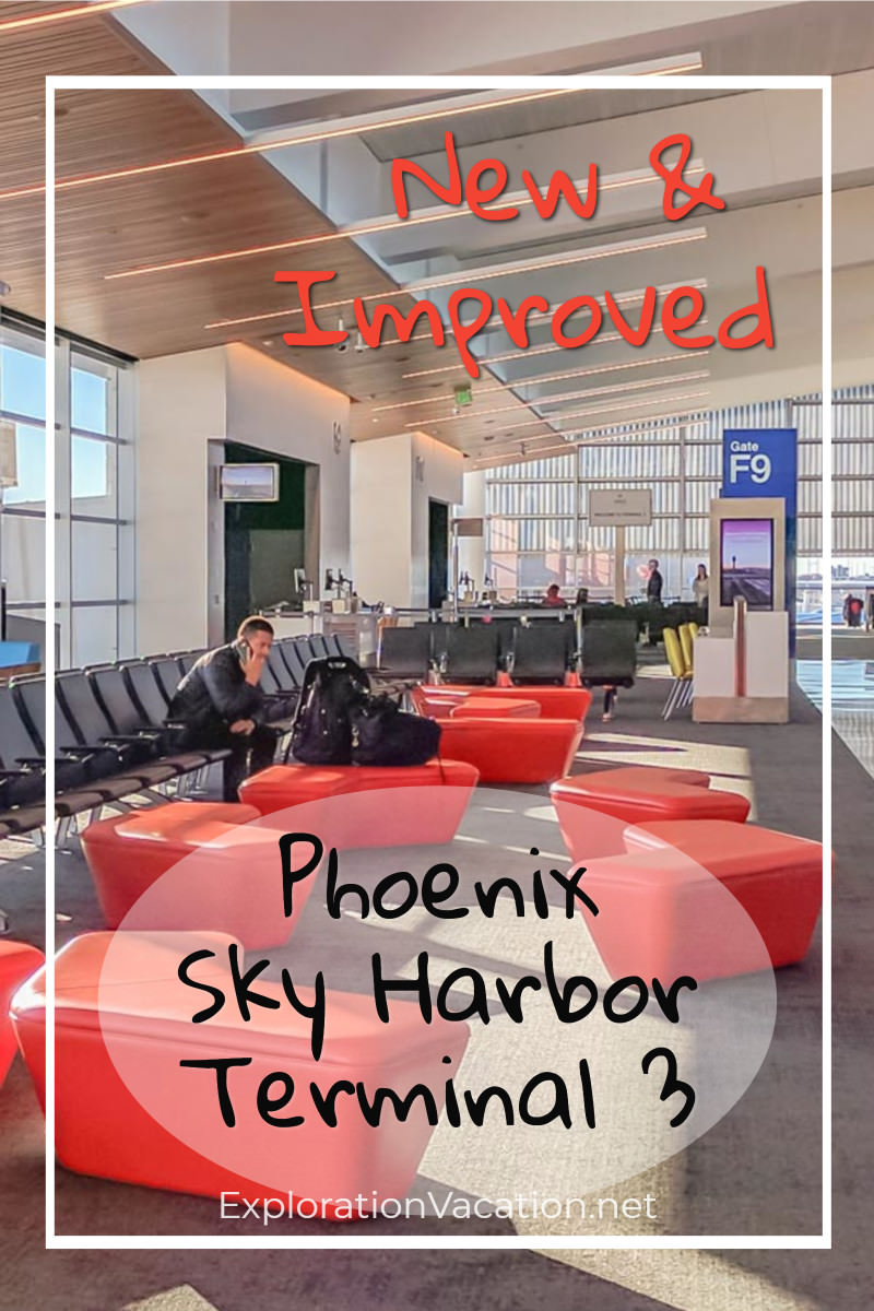 "Seating with text ""New and Improved: Phoenix Sky Harbor Terminal 3"""
