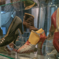 Historic examples of Bata shoes on display