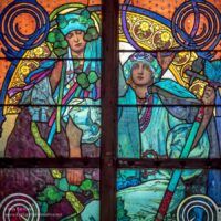 Stained glass window of two women