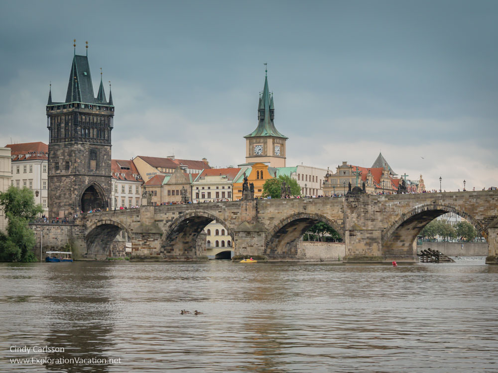 towers of Prague and Charles Bridge