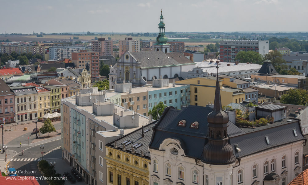 view of the historic core of Opava from above