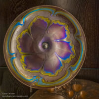 purple and blue art nouveau glass bowl