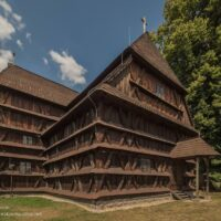 Intricately pieced wooden church
