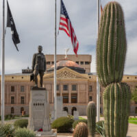 Statues and front of the historic Arizona Statehouse in Phoenix