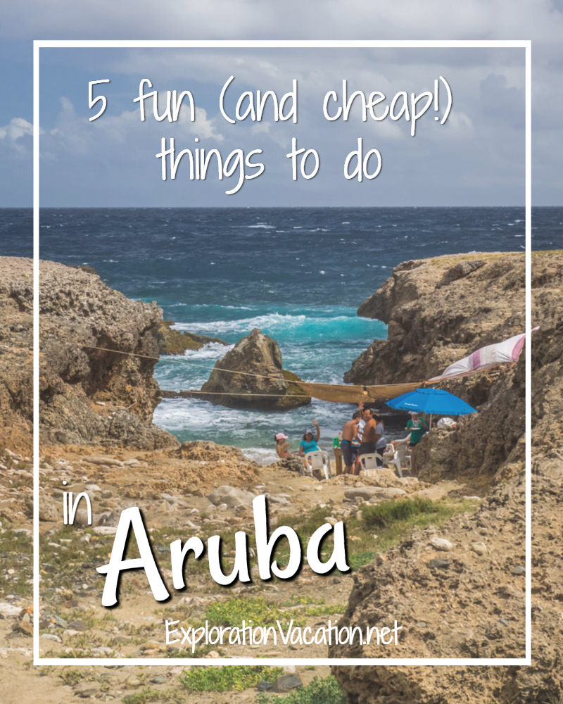 "party on a rocky beach with text ""5 fun and cheap things to do in Aruba"