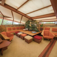orange and gold mid-century living room