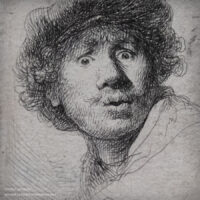 sketch of Rembrandt as a young man
