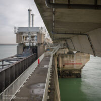 close-up of a portion of a storm surge barrier