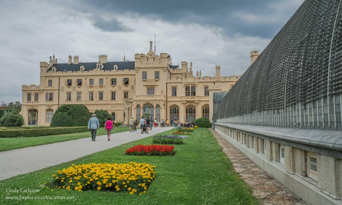 gardens, walkways, and conservatory with chateau in the background