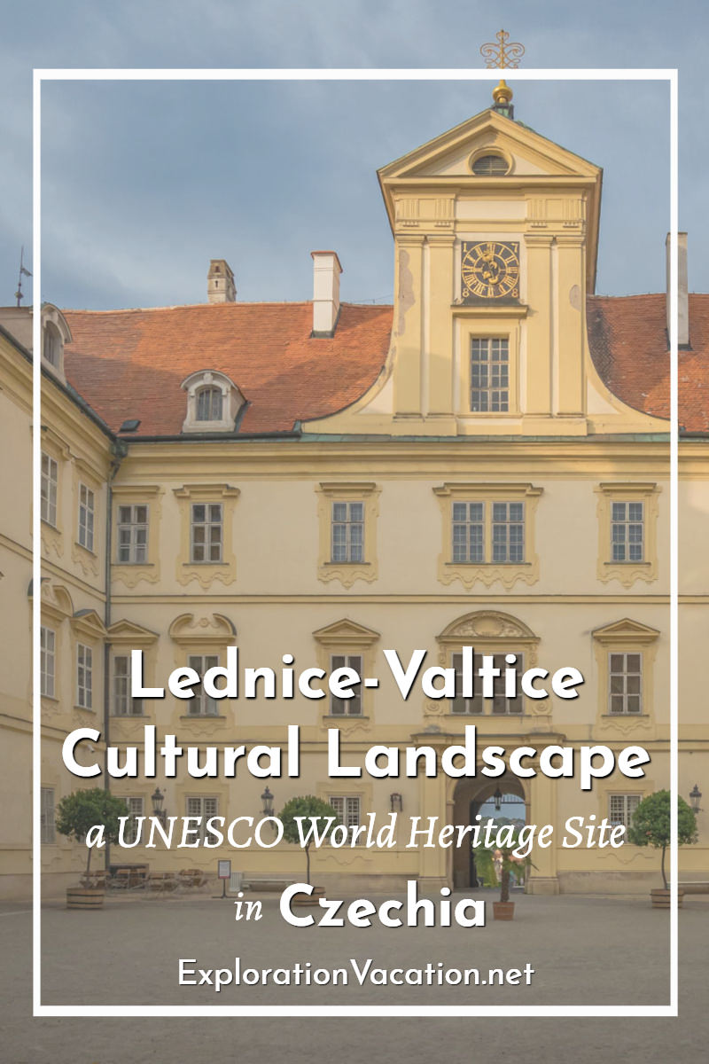"courtyard at Valtice chateau entrance with text ""Lednice-Valtice Cultural Landscape"""