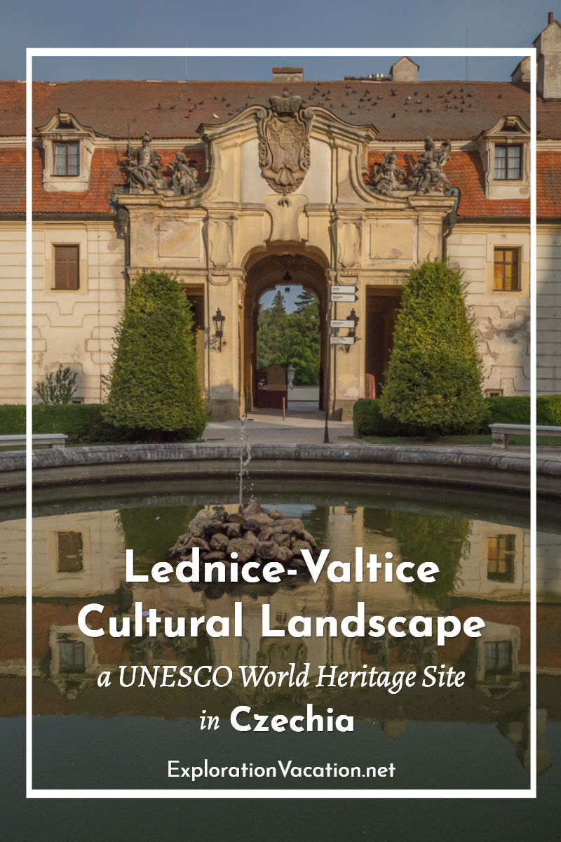 "pool in front of chateau entrance with text ""Lednice-Valtice Cultural Landscape"""