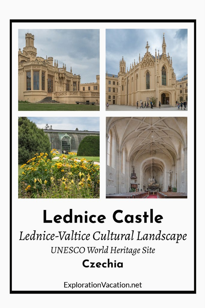 "Four views of Lednice castle with text ""Lednice-Valtice Cultural Landscape"""
