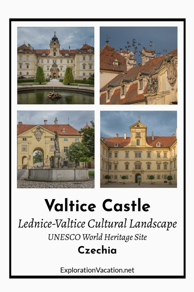 "Four views with Valtice Castle with text ""Lednice-Valtice Cultural Landscape"""