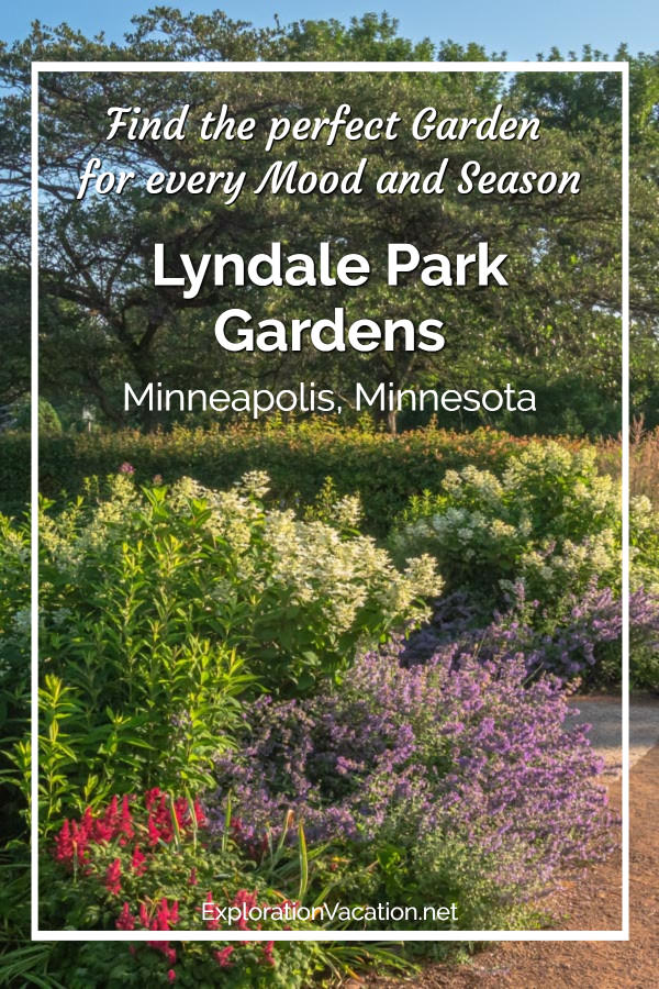 "colorful border garden with ""Lyndale Park Garden"" text"