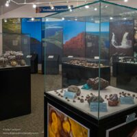 display cases with agates