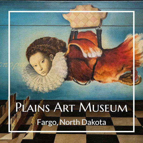 """oil painting of a girl in 17th century dress suspended in air with text """"Plains Art Museum Fargo North Dakota"""""""
