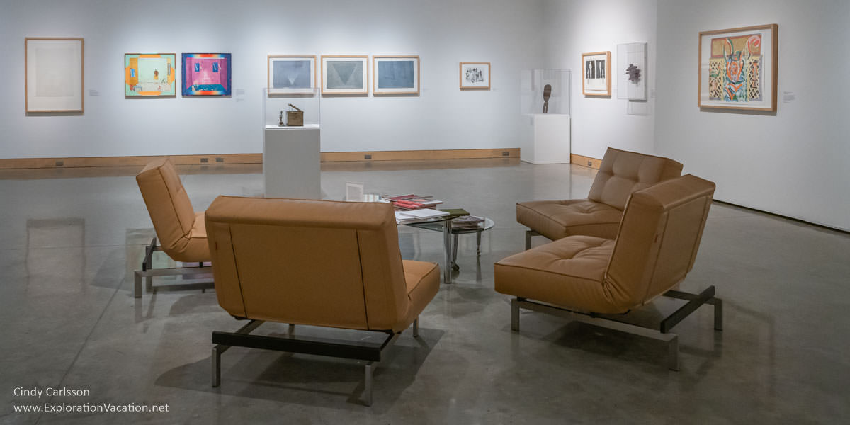 seating in the center of a large open art gallery