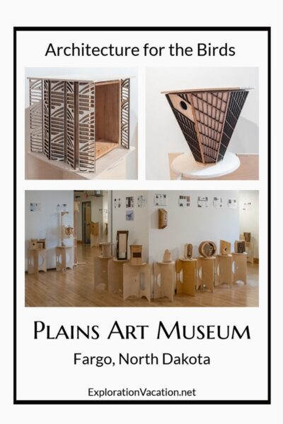pictures of birdhouses on display at the Plains Art Museum