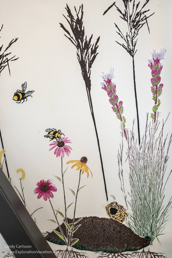 screenprint on wall of prairie plants