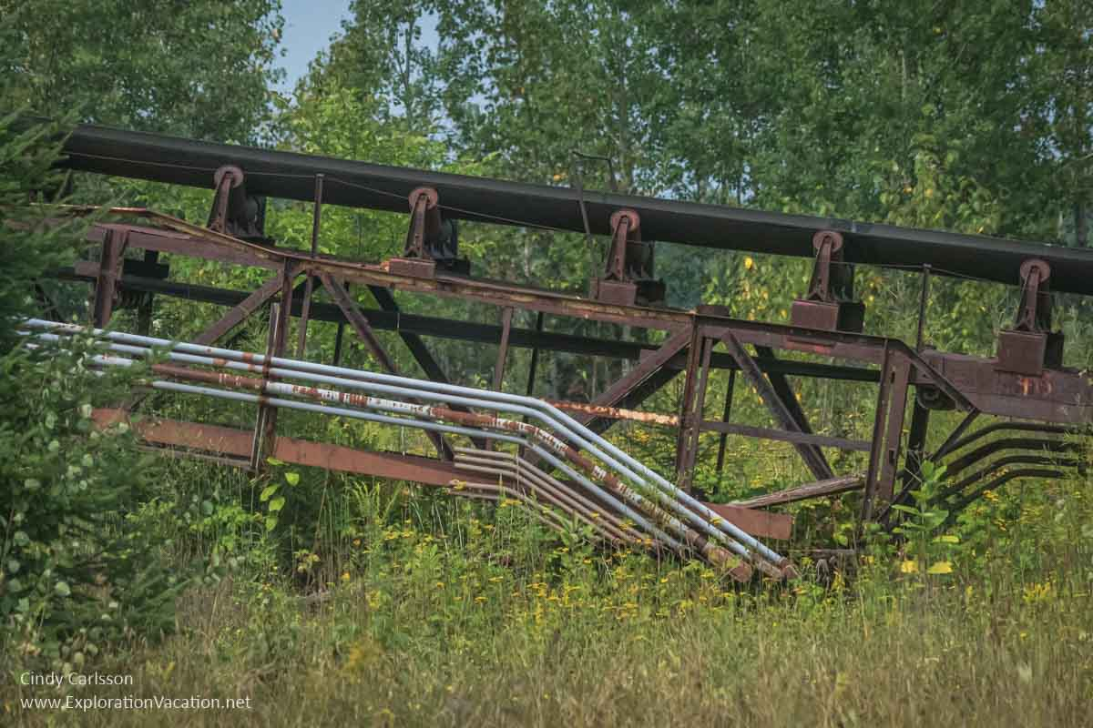 rusty portion of an old conveyor used to move ore and waste rock around the mine