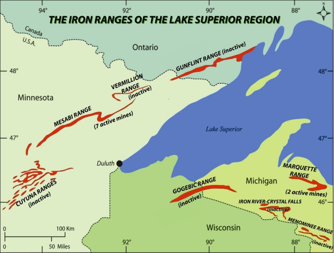 illustration showing the location of iron ore deposits in the state around Lake Superior