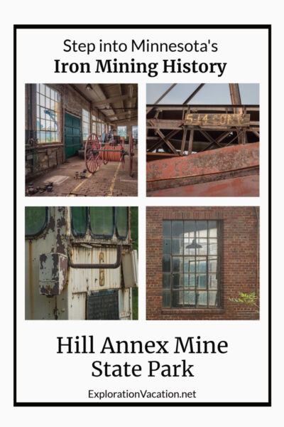 """four images from mine tour and text """"Hill Annex Mine State Park"""""""