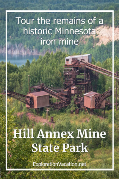 overhead view of mine facilities with Hill Annex Mine State Park text