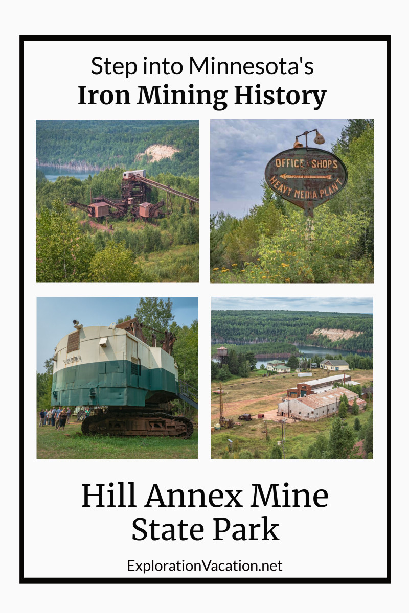 "four images from mine tour and text ""Hill Annex Mine State Park"""