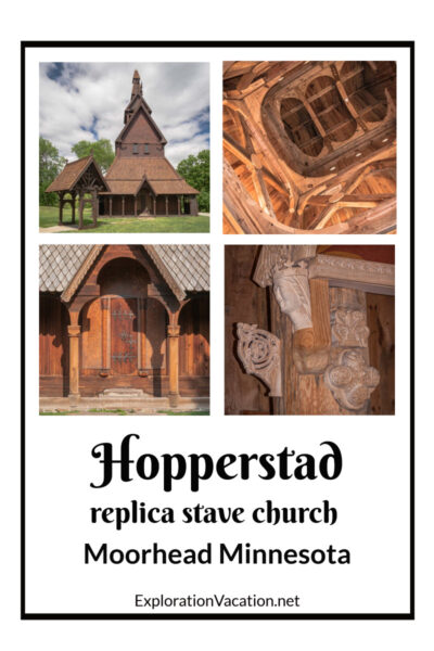 """four stave church images with text """"the replica Hopperstad stave church"""""""