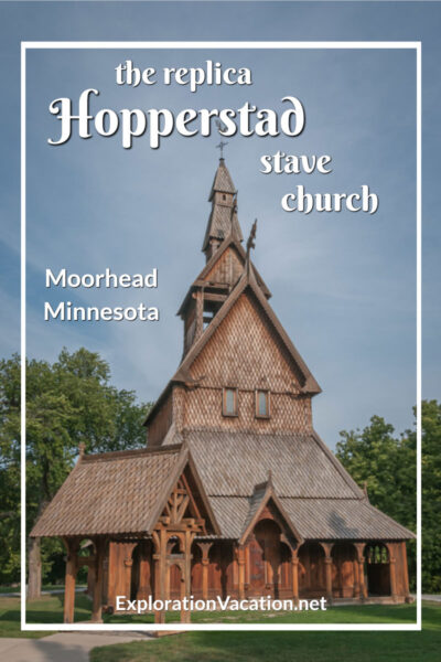 """stave church with text """"the replica Hopperstad stave church"""""""