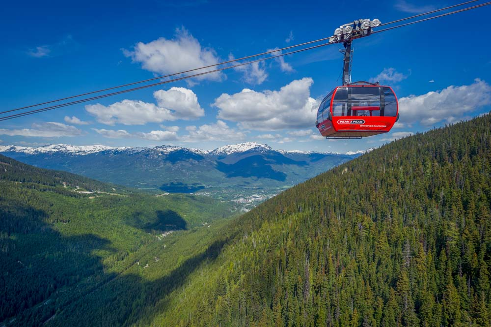 red gondola car high above forested mountains