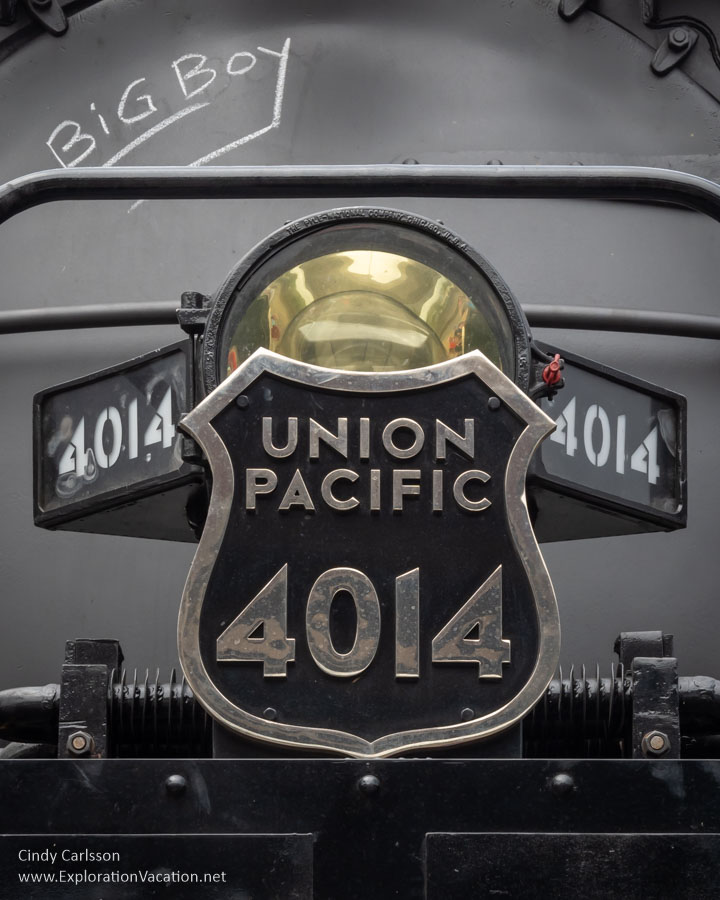 close-up of the name plates on UP 4014