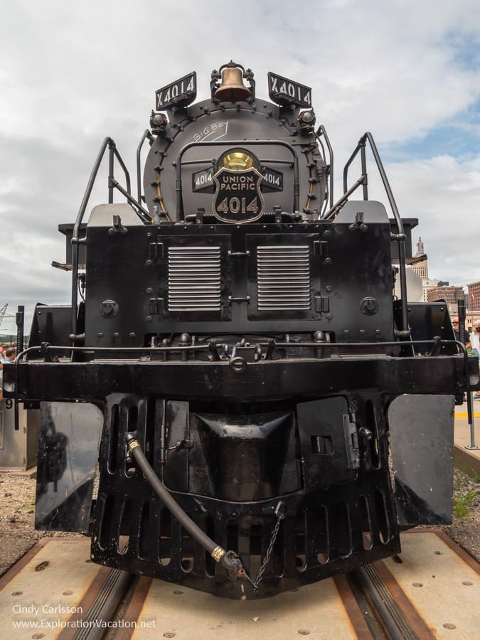 front view of a historic steam locomotive