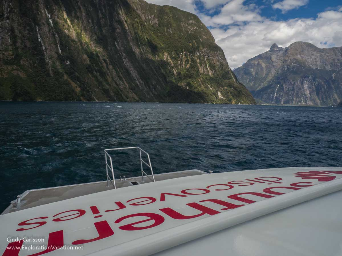 Southern Discoveries boat with name and Milford Sound scenery