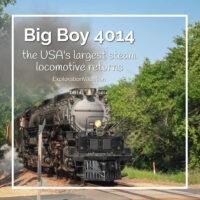 "steam train engine with text ""Big Boy 4014 the USA's largest steam locomotive"""