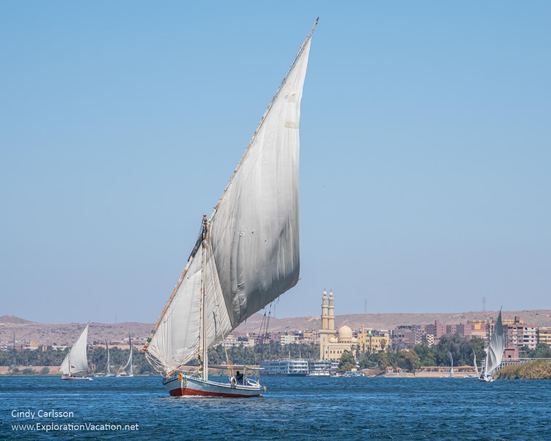 a lanteen sail felucca under sail in Aswan