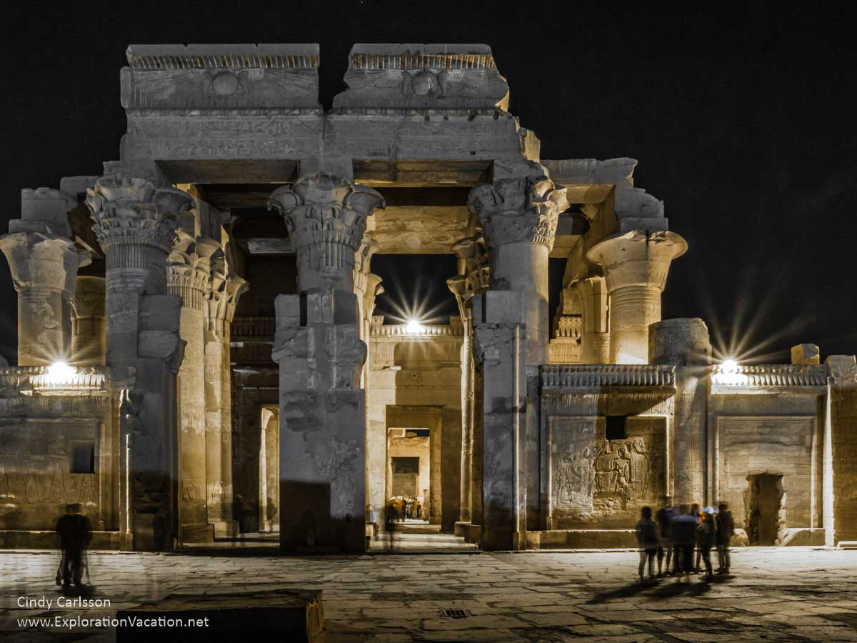 temple ruins with light at night